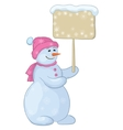 snowman woman with sign vector image vector image