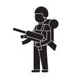 soldier with a rifle black concept icon vector image