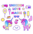 stickers set with unicorn star comet flying vector image vector image