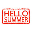summer hello stamp text design vector image