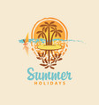 summer travel banner with island and palm trees vector image vector image