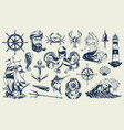 vintage monochrome nautical elements set vector image vector image