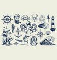 vintage monochrome nautical elements set vector image