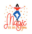 with happy dancing woman with stars and vector image