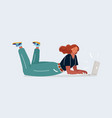 woman working on a laptop lies on her stomach vector image