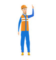 young builder with open mouth pointing finger up vector image vector image