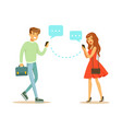 young man and woman communicatitng with their vector image