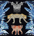 zebra panther tiger mirror blue leaves black vector image