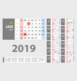 2019 new year calendar in clean minimal table vector image vector image