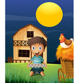 A boy collecting eggs in the evening vector image vector image