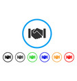 agreement handshake rounded icon vector image vector image