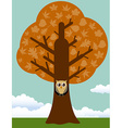 Autumn tree with owl vector image vector image