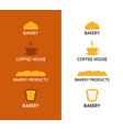 bakery products and coffee icon on white and brown vector image vector image