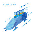 bobsleigh cartoon athletes ride in bobsled vector image vector image