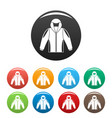camp jacket icons set color vector image vector image