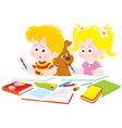 Children do homework vector | Price: 1 Credit (USD $1)