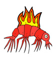 comic cartoon hot shrimp vector image vector image