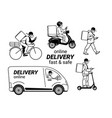 delivery service set couriers in face masks vector image