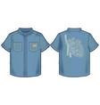 denim summer shirt with bold print on back vector image
