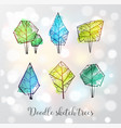 doodle sketch trees on white glowing background vector image