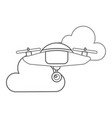drone flying technology with clouds vector image vector image