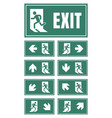 exit door sign set emergency fire exit label vector image vector image