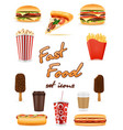 fast food icons pizza hamburger drink french vector image vector image