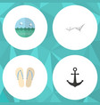 flat icon summer set of beach sandals deck chair vector image vector image