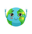 funny earth planet character showing victory sign vector image vector image