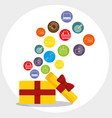 gift box with marketing set icons vector image