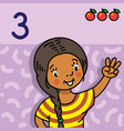girl showing three by hand counting education card vector image vector image