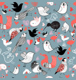 graphic pattern different birds vector image vector image