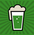 green irish beer pint glass icon vector image vector image