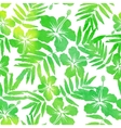 Green watercolor hibiscus seamless pattern vector image vector image
