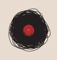 hand drawn vinyl disc logo concept vector image