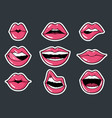 lip stickers set patch female lips and vector image