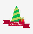 merry christmas paper christmas tree with ribbon vector image vector image