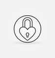 padlock in heart shape concept outline icon vector image vector image