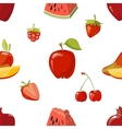 Red fruits seamless pattern over white background vector image vector image