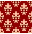 Red seamless fleur-de-lis pattern of royal lilies vector image vector image