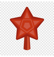 red star fir tree icon flat style vector image vector image
