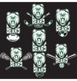 set of bear sports labels vector image vector image
