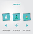 set of character icons flat style symbols with vector image