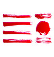 set of hand painted red ink brush strokes grunge vector image vector image