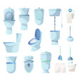 set of toilets and other sanitary equipment vector image