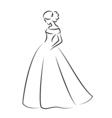 sketch an elegant bride in white wedding dress vector image