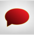speech bubble icon red icon on gold vector image vector image