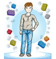 teen cute little boy standing wearing fashionable vector image