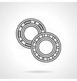 Two bearings flat line icon vector image