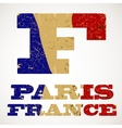 vintage lettering f and france flag vector image